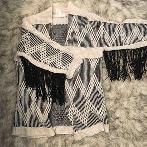 H&M LOGG Fringe Sleeve Cardigan